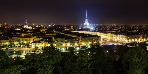 torino by night panorama